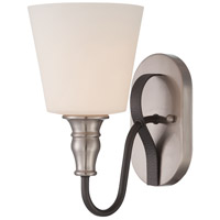 Jeremiah by Craftmade Preston Hollow 1 Light Wall Sconce in Hammered Iron and Brushed Nickel 28101-HIBNK