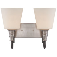 Jeremiah by Craftmade Preston Hollow 2 Light Vanity in Hammered Iron and Brushed Nickel 28102-HIBNK