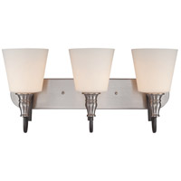 Jeremiah by Craftmade Preston Hollow 3 Light Vanity in Hammered Iron and Brushed Nickel 28103-HIBNK