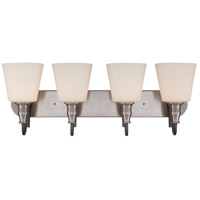 Preston Hollow 4 Light 31 inch Hammered Iron and Brushed Nickel Vanity Wall Light in Frosted