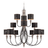 Preston Hollow 12 Light 46 inch Hammered Iron and Brushed Nickel Chandelier Ceiling Light in Charcoal/Silver Fabric Shade