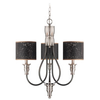 Preston Hollow 3 Light 24 inch Hammered Iron and Brushed Nickel Chandelier Ceiling Light in Charcoal/Silver Fabric Shade