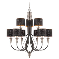Preston Hollow 9 Light 37 inch Hammered Iron and Brushed Nickel Chandelier Ceiling Light in Charcoal/Silver Fabric Shade