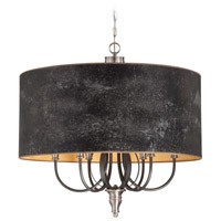 Preston Hollow 6 Light 36 inch Hammered Iron and Brushed Nickel Chandelier Ceiling Light in Charcoal/Silver Fabric Shade