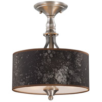 Preston Hollow 3 Light 13 inch Hammered Iron and Brushed Nickel Semi-Flush Ceiling Light in Charcoal/Silver Fabric Shade