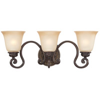 Craftmade 28203-ABZG Josephine 3 Light 24 inch Antique Bronze and Gold Accents Vanity Light Wall Light in Salted Caramel