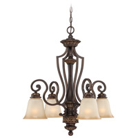 Craftmade 28224-ABZG Josephine 4 Light 25 inch Antique Bronze and Gold Accents Down Chandelier Ceiling Light in Salted Caramel