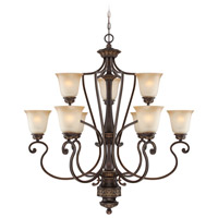 Craftmade 28229-ABZG Josephine 9 Light 37 inch Antique Bronze and Gold Accents Chandelier Ceiling Light in Salted Caramel