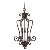 Josephine 3 Light 15 inch Antique Bronze and Gold Accents Foyer Light Ceiling Light in Light Tea-Stained Glass, Cage