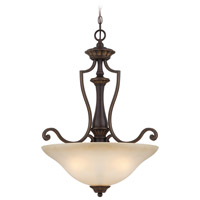 Josephine 3 Light 22 inch Antique Bronze and Gold Accents Inverted Pendant Ceiling Light in Salted Caramel