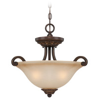 Josephine 3 Light 19 inch Antique Bronze and Gold Accents Semi-Flushmount Ceiling Light in Salted Caramel, Convertible to Pendant