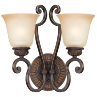 Jeremiah by Craftmade Josephine 2 Light Wall Sconce in Aged Bronze with Gold 28262-ABZG