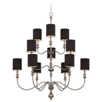 Willow Park 12 Light 42 inch Antique Nickel Chandelier Ceiling Light in Black Shade
