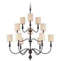 Craftmade 28512-GB Willow Park 12 Light 42 inch Gothic Bronze Chandelier Ceiling Light in Golden Bronze, Beige Fabric