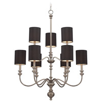 Willow Park 9 Light 30 inch Antique Nickel Chandelier Ceiling Light in Black Shade