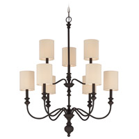 Craftmade 28529-GB Willow Park 9 Light 30 inch Gothic Bronze Chandelier Ceiling Light in Golden Bronze, Beige Fabric