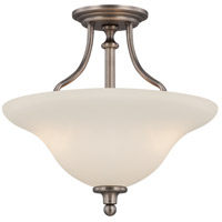 Willow Park 3 Light 16 inch Antique Nickel Semi-Flushmount Ceiling Light, Convertible to Pendant