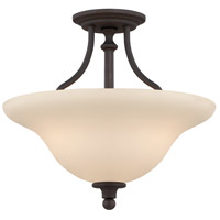 Willow Park 3 Light 16 inch Gothic Bronze Semi Flush Mount Ceiling Light in Golden Bronze, Convertible to Pendant
