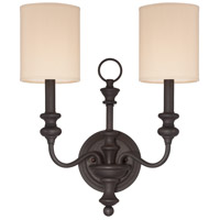 Willow Park 2 Light 14 inch Gothic Bronze Wall Sconce Wall Light in Golden Bronze, Natural Linen Shade