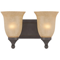 Edgefield 2 Light 13 inch Oil Rubbed Bronze Vanity Light Wall Light in Tea-Stained Glass