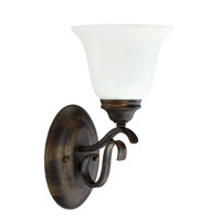 Mckinney 1 Light 7 inch Burleson Bronze Wall Sconce Ceiling Light in White Frosted Glass, Jeremiah