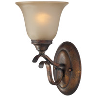 Mckinney 1 Light 7 inch Burleson Bronze Vanity Light Wall Light in Light Tea-Stained Glass