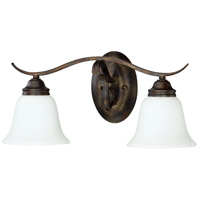 Craftmade 29002-BBZ-WG McKinney 2 Light 20 inch Burleson Bronze Vanity Light Wall Light in White Frosted Glass, Jeremiah