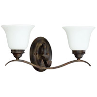 Mckinney 2 Light 20 inch Burleson Bronze Vanity Light Wall Light in White Frosted Glass, Jeremiah