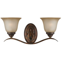 Craftmade 29002-BBZ McKinney 2 Light 20 inch Burleson Bronze Vanity Light Wall Light in Light Tea-Stained Glass