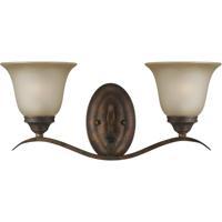 Craftmade 29002-BBZ Mckinney 2 Light 20 inch Burleson Bronze Vanity Light Wall Light in Light Tea-Stained Glass
