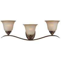 Mckinney 3 Light 27 inch Burleson Bronze Vanity Light Wall Light in Light Tea-Stained Glass