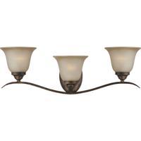 Craftmade 29003-BBZ Mckinney 3 Light 27 inch Burleson Bronze Vanity Light Wall Light in Light Tea-Stained Glass