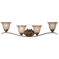 Craftmade 29004-BBZ McKinney 4 Light 38 inch Burleson Bronze Vanity Light Wall Light in Light Tea-Stained Glass