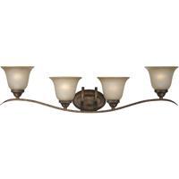 Craftmade 29004-BBZ Mckinney 4 Light 38 inch Burleson Bronze Vanity Light Wall Light in Light Tea-Stained Glass