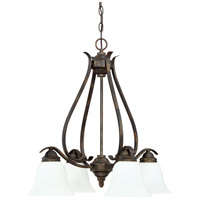 McKinney 4 Light 25 inch Burleson Bronze Chandelier Ceiling Light in White Frosted Glass, Jeremiah