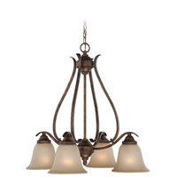 Craftmade 29024-BBZ McKinney 4 Light 25 inch Burleson Bronze Down Chandelier Ceiling Light in Salted Caramel