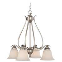 Craftmade 29024-BNK McKinney 4 Light 25 inch Brushed Polished Nickel Down Chandelier Ceiling Light in Brushed Nickel, Frost White