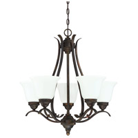 Mckinney 5 Light 25 inch Burleson Bronze Chandelier Ceiling Light in White Frosted Glass, Jeremiah