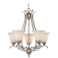 Mckinney 5 Light 25 inch Brushed Nickel Chandelier Ceiling Light in Frost White