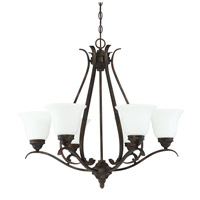 Mckinney 6 Light 30 inch Burleson Bronze Chandelier Ceiling Light in White Frosted Glass, Jeremiah