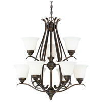 Mckinney 9 Light 31 inch Burleson Bronze Chandelier Ceiling Light in White Frosted Glass, Jeremiah