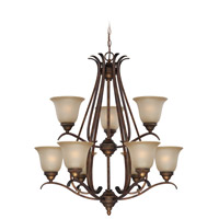 Mckinney 9 Light 31 inch Burleson Bronze Chandelier Ceiling Light in Salted Caramel