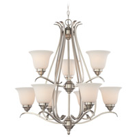 Mckinney 9 Light 31 inch Brushed Nickel Chandelier Ceiling Light in Frost White