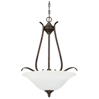 McKinney 3 Light 20 inch Burleson Bronze Inverted Pendant Ceiling Light in White Frosted Glass, Jeremiah