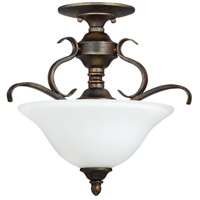 Craftmade 29053-BBZ-WG McKinney 3 Light 17 inch Burleson Bronze Semi Flush Mount Ceiling Light in White Frosted Glass, Convertible to Pendant