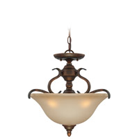 Craftmade 29053-BBZ McKinney 3 Light 17 inch Burleson Bronze Semi-Flushmount Ceiling Light in Salted Caramel, Convertible to Pendant