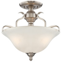 Mckinney 3 Light 17 inch Brushed Nickel Convertible Semi-Flush Pendant Ceiling Light in Frost White