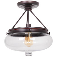 Yorktown 1 Light 13 inch Oil Rubbed Gilded Semi-Flushmount Ceiling Light in Oiled Bronze Gilded