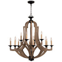 Winton 12 Light 36 inch Weathered Pine and Bronze Chandelier Ceiling Light