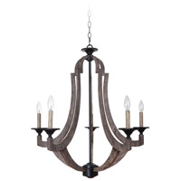 Craftmade 35125-WP Winton 5 Light 30 inch Weathered Pine and Bronze Chandelier Ceiling Light